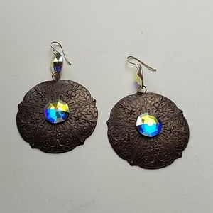 GYPSY QUEEN MEDALLION OPAL EARRINGS NEW